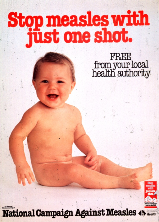 <p>Gray poster with multicolor lettering.  Title at top of poster.  Visual image is a reproduction of a color photo of a smiling baby.  Note at bottom of poster, along with publisher information and what appears to be the Campaign logo.</p>