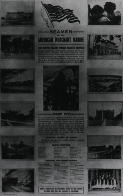 <p>Photoprint of a poster outlining PHS services to merchant seamen.</p>