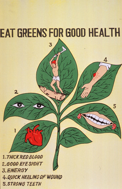 <p>Predominantly yellow poster with black lettering.  Title at top of poster.  Visual image is an illustration of a green plant with six leaves.  Five of the leaves are numbered and bear small illustrations of a heart, eyes, a man chopping wood, a wound on a forearm, and a toothy smile.  The numbers correspond to those in the caption below the illustration.</p>