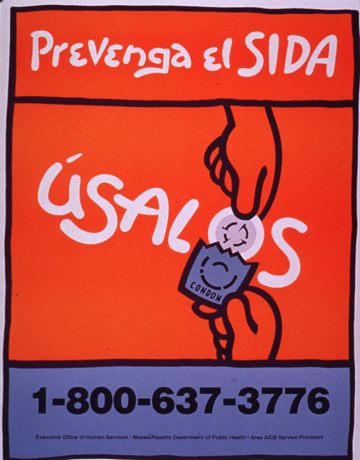 <p>Poster is primarily orange with white print. The only visual is the &quot;o&quot; in condon appearing as a condom being taken out of the packaging by a pair of hands.</p>