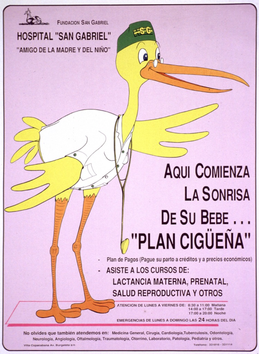 <p>Predominantly lilac poster with black lettering.  Publisher information and note in upper left corner.  Visual image is a cartoon-style illustration of a stork wearing a white coat and stethoscope.  Title on right side of poster.  Additional text below title lists available services including help with lactation, prenatal care, and reproductive health.  Hours and other hospital services listed below.</p>