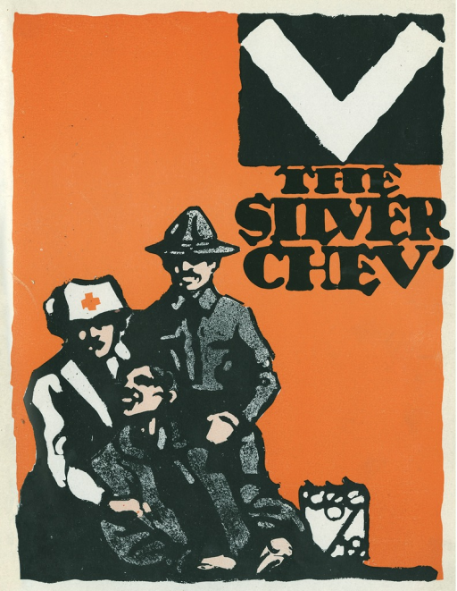 <p>Image of the cover page of an issue of The silver chev' magazine showing a military nurse and a military medic helping a solider.</p>