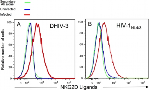 Infected primary CD4pos T-cells express NKG2D ligands.DHIV (A) and HIV-1NL4/3 (B) -infected primary T-cell blasts and uninfected CD4pos T-cells were surface stained with fluorochrome-conjugated anti-CD4 Ab and a fusion protein of human NKG2D and the Fc portion of human IgG1 along fluorochrome-conjugated goat anti-human IgG1. All cells were stained intracellularly for HIV-1 p24 antigen (Ag). Histograms were derived following acquisition on a flow cytometer of either 104 viable cells [(for uninfected cells) blue line] or 104 viable CD4neg cells and HIV-1 p24 Agpos infected cells (red line). As controls (green line), cells were stained with secondary Ab alone. This figure is representative of five separate experiments.