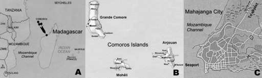 Regional map of the Indian Ocean, showing A) location of Comoros Islands and Madagascar; B) Comoros Islands; and C) location of Mahajanga seaport and airport, Madagascar.