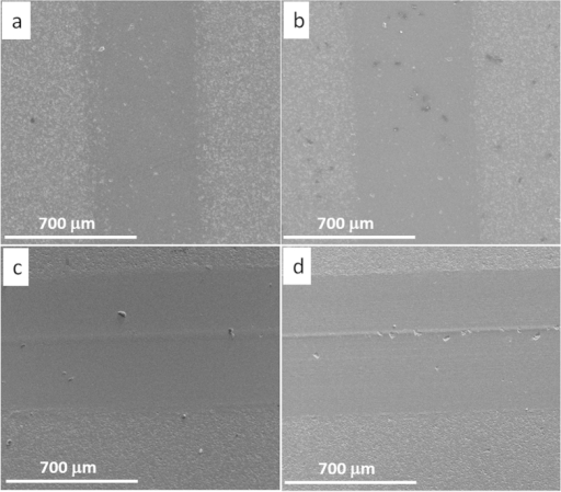 SEM images of the wear track of sample S0.5-0, under various sliding loads.(a) 5 N, (b) 15 N, (c) 25 N, and (d) 35 N.