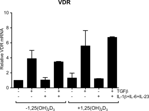 Vitamin D receptor (VDR) expression is increased by TGFβ in the presence of Th17 polarising cytokines.CD4+CD25- T cells were stimulated with antiCD3CD28 antibodies for 18 hours in the presence of recombinant cytokines and 1,25(OH)2D3 as shown and VDR mRNA measured by qPCR. Expression was normalized to 18S RNA and is plotted relative to expression in the absence of recombinant cytokines or 1,25(OH)2D3. Data are from four donors. Bars show median values and error bars indicate semi interquartile range.