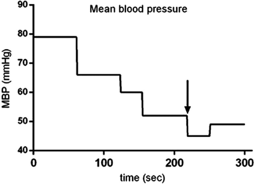 Changes in mean blood pressure after administration of 0.8 mcg/kg of sufentanil. The blood pressure decreased maximally in 220 s after injection of sufentanil. The blood pressure was measured in 1-min intervals