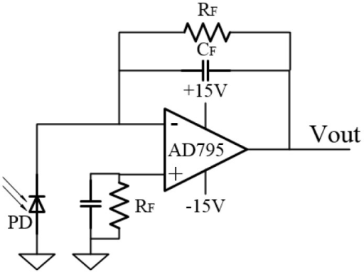 Schematic diagram of the I/V converter.