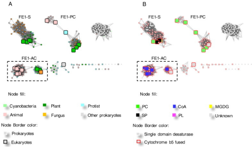 The representative sub-clusters within the FE1 cluster. A and B are the same networks generated from the FE1 cluster in Fig. 2 at a higher stringency, LogE < − 65. The nodes are coloured by organism kingdom information (A) and their substrate specificities reported in the literature (B).