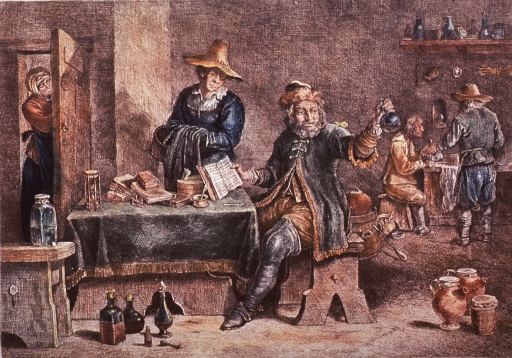 <p>Interior scene showing a physician sitting at a table on which are several books, an hourglass, and a mortar and pestal; he is examining the contents of a urine flask; a woman is standing next to the table; two men are working in the background.</p>