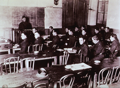 <p>Interior view of an American Sanitary Service (?) lecture room.</p>