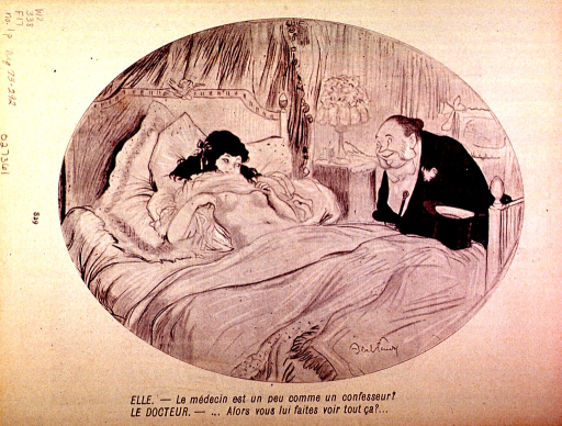 <p>A physician makes a bedside visit to a pretty young woman.  She eagerly raises her nightdress; to his delight.</p>