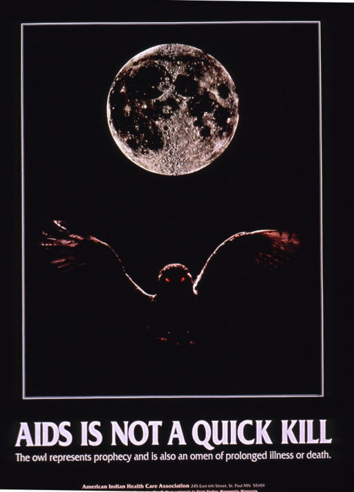 <p>The poster is black with the picture of a full moon and an owl with his wings spread out as the visual.</p>
