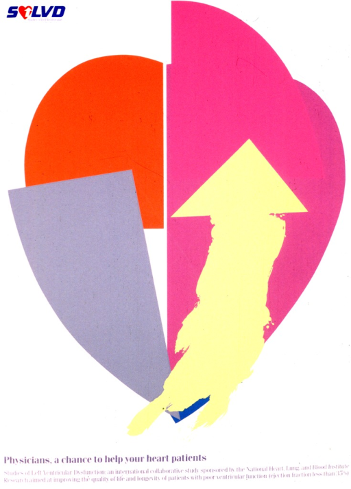 <p>The image is of a stylized heart fractured into four pieces.  A yellow arrow points up on the right side of the heart.  In the top left corner is the logo for the study, SOLVD, with the &quot;O&quot; being a heart with an arrow on the right side.</p>