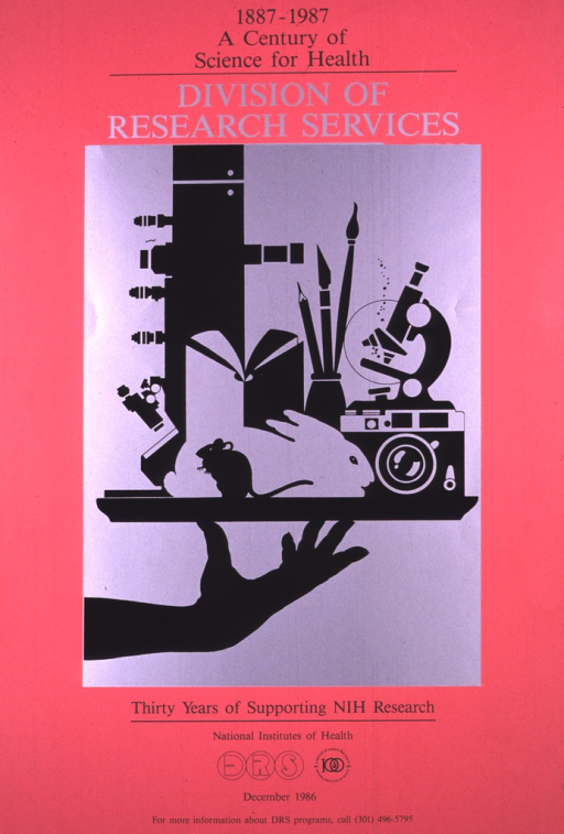 <p>Dark pink poster with black print, the title and image are in silver and black.  The image is of a couple of microscopes, a mouse, a rabbit, a book, and writing supplies, all on a tray supported by a hand.  A phone number for more information is also given.</p>
