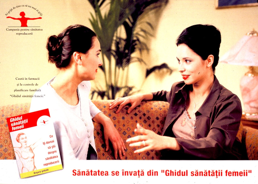 <p>Multicolor poster with red and black lettering.  Publisher logo in upper left corner.  Visual image is a reproduction of a color photo featuring two women who sit on a couch and talk.  Note and picture of the brochure &quot;ghidul sanatatʹii femeii&quot; superimposed on lower left corner of photo.  Note tells viewer to look for the guide in pharmacies or family planning centers.  Title below photo encourages using the guide to learn about health.</p>