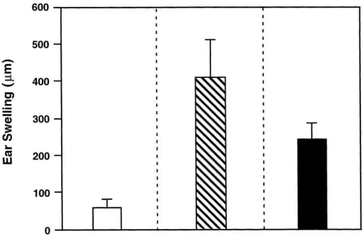 Induction of delayed-type hypersensitivity responses in  rmIL-12–treated mice given the combined oral vaccine. Three groups of  mice were assessed and included combined oral vaccine only (unshaded),  those receiving combined oral vaccine and rmIL-12 by the i.p. (striped; 15  times 100 ng/dose) route, or mice given rmIL-12 by the oral route  (shaded; six times 1,000 ng/dose). The results are expressed as the mean ±  one SD of the difference in the ear swelling between the TT-injected and  OVA-injected ear pinna and are representative of three separate experiments.