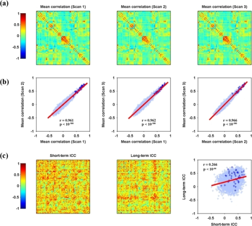Spatial similarity and TRT reliability patterns of S-AAL-based RSFC.Mean Pearson correlation matrices (a), consistency of overall patterns between mean matrices (b) and TRT reliability of individual connections as well as the relationship between short-term and long-term reliability (c) are illustrated. The mean correlation matrices exhibited high similarity from both visual inspection (a) and quantitative spatial correlation analyses (b). Further TRT reliability analyses revealed a portion of connections exhibiting fair to excellent reliability (c, also see Fig. 2). Moreover, short-term reliability was significantly (p<0.05) correlated with long-term reliability among connections (c). Functional connections linking inter-hemisphere homotopic regions, as highlighted by plus signs (+), showed high connectivity strength and many of them exhibited high reliability. TRT, test-retest; RSFC, resting-state functional connectivity; S-AAL, structural ROIs from Anatomical Automatic Labeling atlas. Of note, the structural ROIs were listed as in Table S1.