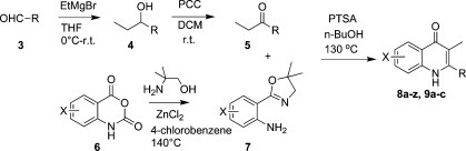 Synthesis of Quinolones 8a–z and 9a–c