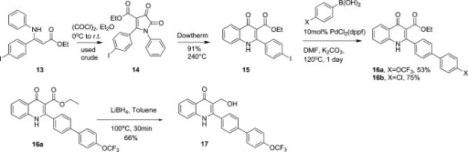 Synthesis of 3-Ester Quinolones 16a, 16b, and 3-Methyl Alcohol Quinolone 17