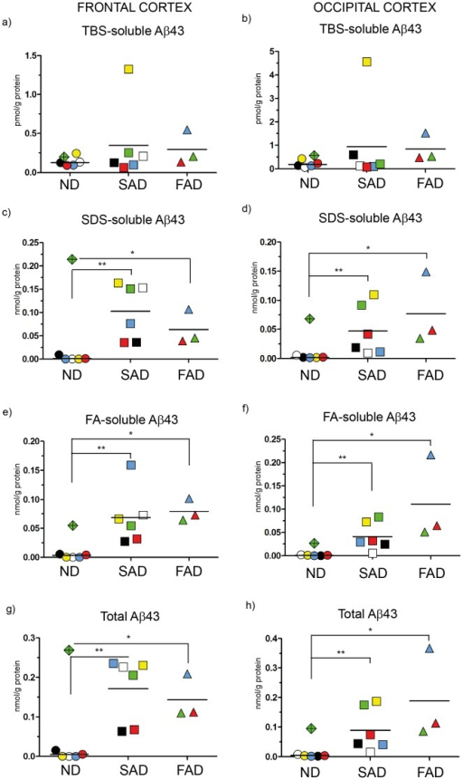 ELISA scatter plots of Aβ43.Fractions of human brain homogenates from non-demented (ND), sporadic Alzheimer disease (SAD) and familial Alzheimer disease (FAD) were analyzed with an Aβ43-specific ELISA. Colored symbols each represents one case as listed in Figure 1 and horizontal lines indicate the mean value of each group. Data is expressed as nmol or pmol/g of protein. a) TBS-soluble Aβ43 in frontal cortex; b) TBS-soluble Aβ43 in occipital cortex; c) SDS-soluble Aβ43 in frontal cortex; d) SDS-soluble Aβ43 in occipital cortex; e) FA-soluble Aβ43 in frontal cortex; f) FA-soluble Aβ43 in occipital cortex; g) Total Aβ43 (TBS+SDS+FA) in frontal cortex; h) Total Aβ43 (TBS+SDS+FA) in occipital cortex *<0.05; **<0.01.