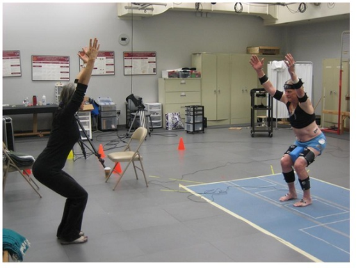 YESS participant performing the intermediate chair asana while instrumented for biomechanical analysis.