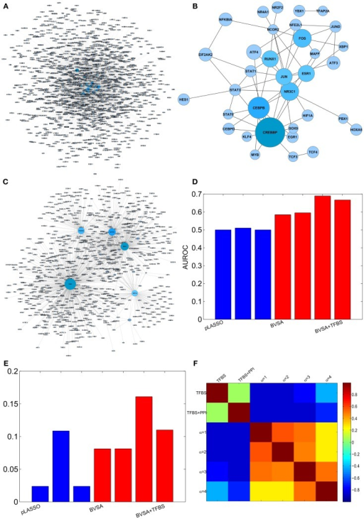Reconstructing GRN of human breast epithelium and comparison with LASSO. (A) Prior network based on TFBS information. (B) PPI among TFs. (C) The gold standard network. (D) AUROCs of LASSO and BVS algorithms under different prior settings. (E) AUPRs of LASSO and BVS algorithms under different prior settings. (F) Sensitivity of the BVS algorithm to the confidence parameter (αc). Here, TFBS represents the prior network constructed from TFBS data, TFBS + PPI represents the prior network constructed from both TFBS and PPI information, α = 1, 2, 3, 4 represents the networks inferred from ΓTFBS+PPI with confidence parameters αc = 1, 2, 3, 4, respectively.