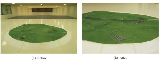 Land model installed inside wind tunnel.
