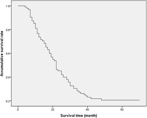 Survival curve of 95 HCCA patients after surgical treatment. The median survival time for all the 95 HCCA patients was 21.5 months. The 1-, 3-, and 5-year survival rates were 72%, 26%, and 21%, respectively.