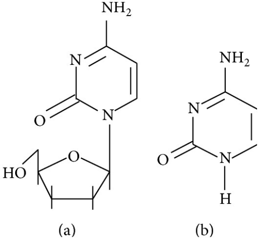 Structures of (a) zalcitabine and (b) cytosine.