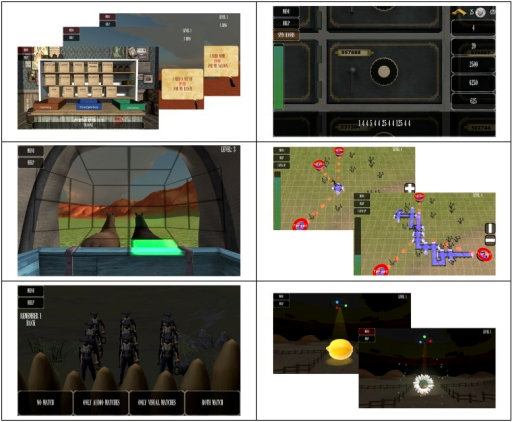 Mind Frontiers tasks.Screenshots of Mind Frontiers games: Top to bottom, left to right: Supply Run, Riding Shotgun, Sentry Duty, Safe Cracker, Irrigator, Pen 'Em Up.
