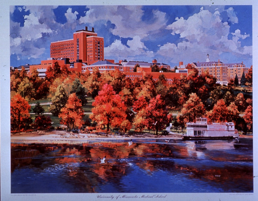 <p>Exterior view: the University of Minnesota's Centennial Showboat is on the Mississippi River;  there is a park between the river in the foreground and the medical school in the background.</p>