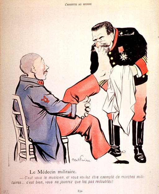 <p>A musician in the military band has his feet examined by the doctor in hopes of being exempted from marches.</p>