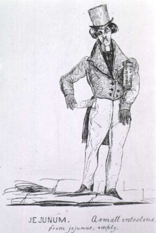 <p>A frowning man wearing a top hat stand and pulls an empty pocket from his trousers.</p>
