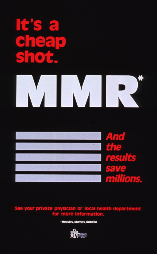 <p>Black poster with red and white lettering.  Title in upper portion of poster.  Visual image is five horizontal gray bars.  Caption next to image.  Note in lower portion of poster.  Publisher information and logo near bottom of poster.</p>