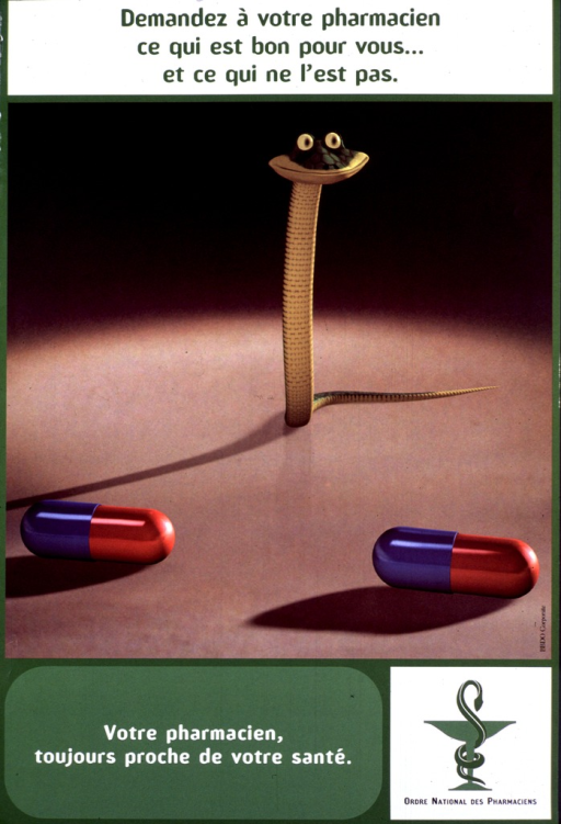 <p>Green and brown poster with multicolor lettering.  Title at top of poster.  Visual image is a reproduction of a color photo in which a toy snake &quot;stands&quot; behind two capsules.  Caption and publisher name and logo below image.</p>