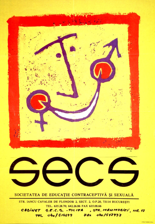 <p>Predominantly yellow poster with black lettering.  Abstract illustration of a face dominates upper portion of poster.  Male and female symbols incorporated in illustration.  Title below illustration.  Publisher address below title.</p>