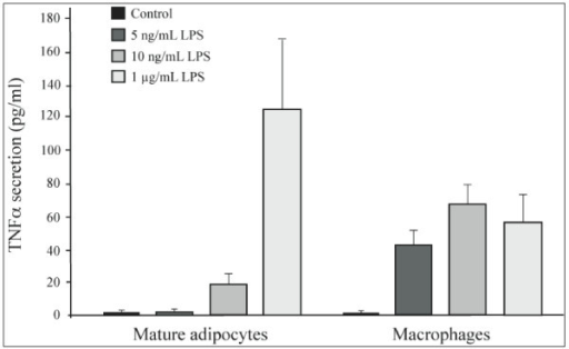 Comparison of LPS induced TNFalpha secretion by human peripheral blood mononuclear cells versus human mature adipocytes. Human mature adipocytes and peripheral blood mononuclear cells were treated with a LPS dose-response (5, 10 ng/mL and 1 μg/mL). TNFα concentrations in medium (pg/mL) were determined at 6 hours. Plating was 8 × 104 for macrophages and 3 × 104 for adipocytes. The graph represents the mean ± SE of the results from one patient (n = 6 for each condition) for each cell type, representative of two experiments on two different patients (macrophages) and representative of three experiments on three different patients (adipocytes).