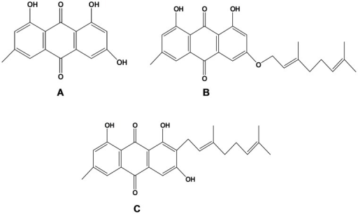 Chemical structures of the isolated compounds.The compounds isolated from Psorospermum febrifugum using column chromatography and identified using physicochemical and spectroscopic data were emodin (A), 3-geranyloxyemodin (B) and 2-geranylemodin (C).
