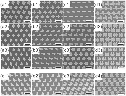 SEM images of the nanostructures fabricated.(a1) to (a3) all with E1(0 cm, 0°, 100 s) and varying exposure duration so E2(0 cm, 90°, 100 s), E2(0 cm, 90°, 80 s), E2(0 cm, 90°, 60 s), respectively. (b1) to (b3) are results after E1(0 cm, 0°, 100 s) and varying the shift distance (Sx) so E2(3 cm, 90°, 100 s), E2(6 cm, 90°, 100 s), E2(7.5 cm, 90°, 100 s), respectively. (c1) to (c3) are results after single, double, and triple exposures by rotating the lamp 60° after each exposure. The exposure durations are all 100 s. (d1) E1(0 cm, 0°, 100 s)/E2(7.5 cm, 90°, 360 s) (d2) E1(0 cm, 0°, 100 s)/E2(7.5 cm, 90°, 300 s)/E3(7.5 cm, −90°, 360 s) (d3) E1(6 cm, 0°, 300 s)/E2(6 cm, 90°, 300 s)/E3(6 cm, 180°, 300 s) (e1) to (e4) are possible planar chiral metamaterials that can be fabricated. (e1) and (e2) E1(0 cm, 0°, 150 s)/E2(7.5 cm, ±90°, 300 s). (e3) and (e4) E1(0 cm, ±45°, 100 s)/E2(7 cm, 90°, 300 s)/E3(7 cm, −90°, 300 s). The Au thickness of all the nanostructures is 15 nm and the scale bar indicates 2 μm.