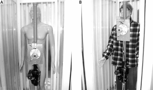The calibration session in the phototherapy cabin in Lodz with naked (A) and dressed manikin (B)