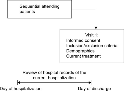 Study design.Notes: Patients made one visit on the day of their discharge after hospitalization due to an acute psychotic episode; during this visit, data on demographics, diagnosis, and medical history were recorded. In addition, data on antipsychotic treatment and concomitant medication were collected for the hospitalization period, together with the recommendation at discharge. Any patients who met the enrolment criteria (≥18 years and met the diagnostic criteria for schizophrenia stated in Diagnostic and Statistical Manual of Mental Disorders, Fourth Edition) and had signed a written informed consent form were included in the study.