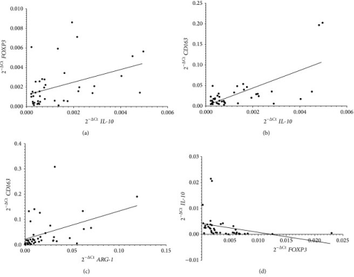 Correlations between IL-10 and FOXP3 (a) and IL-10 and CD163 mRNA (b), in BM samples, and ARG-1 and CD163 (c) and FOXP3 and IL-10 (d) mRNA in PB samples from 41 high-risk NB patients. Data are expressed as 2−ΔCt values.
