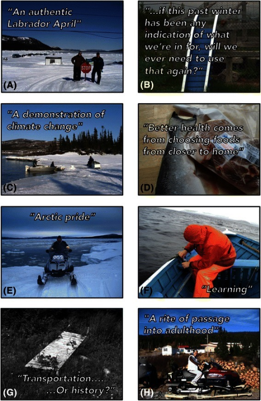 Key photos and quotes/messages (a-h) selected by PhotoVoice participants in Rigolet, Nunatsiavut, Labrador, Canada in 2010