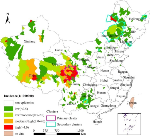 Spatiotemporal clusters of human cutaneous anthrax in mainland China, 2005–2012.