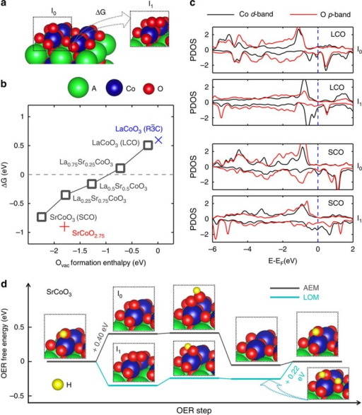 Density functional theory modelling of vacancy-mediated oxygen evolution on La1−xSrxCoO3−δ.(a) Surface configurations of the intermediate after AEM Step 1 (I0) and the one after LOM Step 1 (I1). (b) The free energy change of I1 over I0 versus the O vacancy formation enthalpy in the bulk, for the cubic La1−xSrxCoO3−δ (black mark), where x=0, 0.25, 0.5, 0.75 and 1, with the rhombohedral LaCoO3 and optimized SrCoO2.75 phases; for x=0.25 and 0.75, the most energetic favourable vacancy site is selected; the O vacancy formation energy is calculated at the concentration of 1 per 2 × 2 × 2 unit cell with respect to H2O(g) and H2(g) at standard condition; using O2(g) as the reference will shift the O vacancy formation enthalpy around +2.5 eV larger. (c) The density of states of d-band for the active surface Co and the overall p-band for its ligand O, for LaCoO3 and SrCoO3 before and after the lattice oxygen exchange. (d) The OER free energy changes of LOM and AEM on SrCoO3 at the concentration of ¼ ML, with indicated intermediates structures and potential-determining steps.