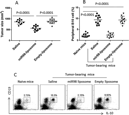 MiR-98-carrying liposomes inhibit B10 cells and suppress tumor growth.(A) the scatter plots show the tumor size in individual mice on day 12. (B) the scatter plots show the frequency of peripheral B10 cells. (C) the gated dot plots show the representative results of panel B. Each group consists of 10 mice.