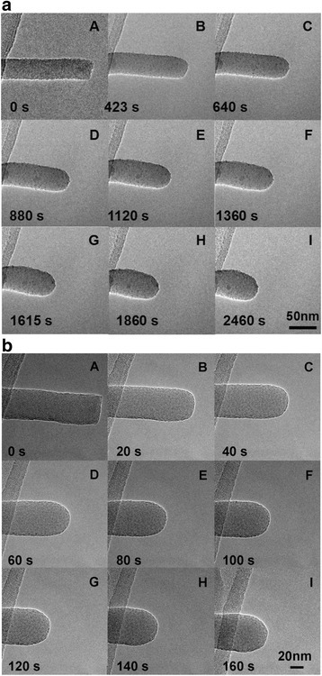Sequences of in situ TEM micrographs showing the typical structural evolution of the free-ended amorphous SiOx nanowires during uniform irradiation of e-beam with different current densities respectively at a 1 A/cm2 and b 10 A/cm2