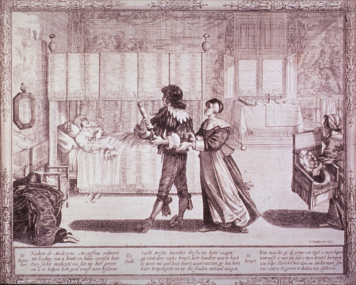 <p>Interior scene in which an apothecary brings a clyster to a bedridden woman while a maid brings a chamber pot-chair.</p>