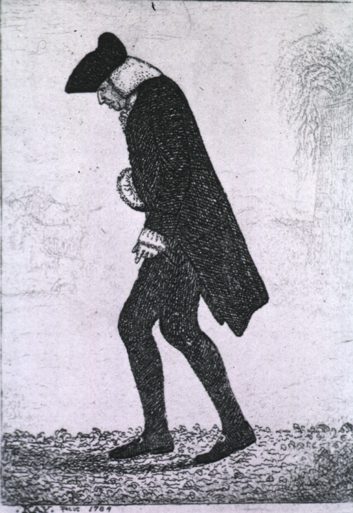 <p>Full length, left profile; wearing hat and coat, walking; at the age of seventy-five.</p>